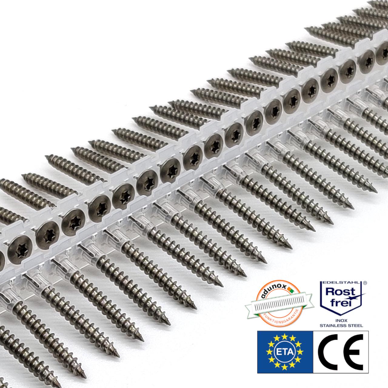 Magazinierte Holzschrauben | rostfrei A2 | Linsensenkkopf | 4,5x40