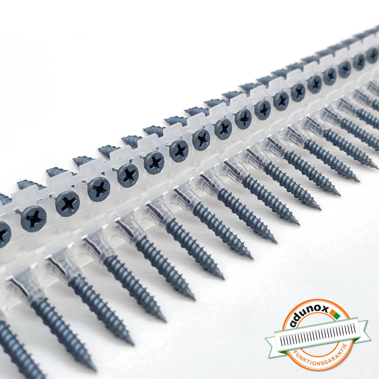 Magazinierte BLUEfast500® Faserplattenschrauben | Hi-Lo-Gewinde | 3,9x45